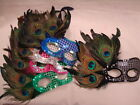 Sequin Peacock Feather Fancy Dress Masquerade Carnival Venetian Ball Mask