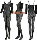 Bodystocking Ladies Stretch Lace Crotchless Sexy Long Sleeves Black DTS00652