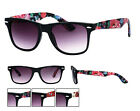 New Floral Frame/Arm Design Wayfarer Sunglasses Dark Lens 80s Retro UV400 NWT