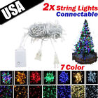 2pcs Connectable 100 LED String Fairy Lights for Christmas Party Wedding 7 Color