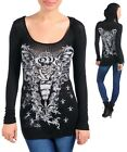 Womens Hoodie top blouse graphic rhinestone embellished  S M L XL 2XL 3XL