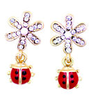 Lovely ladybird on crystal flower stud earrings