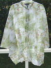BUFFALO BEIGE GREEN FLORAL BUTTON  3/4 SLEEVE POLY TOP SHIRT BLOUSE L XL NEW