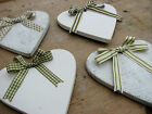 Painted Wooden Hearts with Decorative Ribbon Bow - 4 Styles of Ribbon