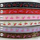 "3/8""9mm Cherry heart Black/Red/Pink/White/Purple/Brown Grosgrain RIBBON 5 yard"