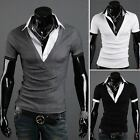 ZUSD28 New mens slim fit Short Sleeves Shirts 3 Colours BLACK,GREY,WHITE