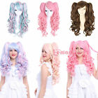 55-70cm Lolita long wavy blend clip on ponytail 6 colors Cos cospla hair+wig cap