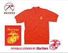 MARINE Embroidered Polo Shirt RED 100% Cotton 3 button collared Golf shirt New
