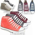 LADIES HIGH HI TOPS TRAINERS GIRLS WOMENS LACE UP ANKLE CANVAS BOOTS SHOES SIZE