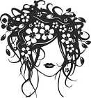 WOMAN WITH FLOWER HAIR WALL OR CAR STICKERS any colour removable art salon