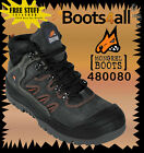Mongrel Work Boots (480080) Steel-Toe Safety Black Nubuck Hiker Boots Brand New*