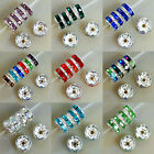 8mm Czech Crystal Rhinestone Silver Rondelle Spacer Beads Pick