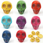 High Quality 2 Skull Head synthetic Turquoise Gemstone Bead Charm Cabochon