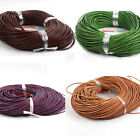 15M Mixed Round Real Leather Cord Necklace Without Clasp 2mm Dia Pick Color new