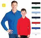 Men's Long Sleeve 210 Polo Shirt Adults Top 7 Colours Size S-3XL New 210XL