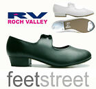 ROCH VALLEY LOW HEEL BLACK TAP SHOES WITH TOE + HEEL TAPS. Child13 - Adult 8