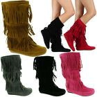 Womens Fringe Boots High Fashion Slouch Flat Heel Boot Hot Stylish Shoes Size