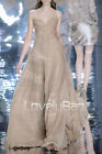 Taupe Strapless Ruches Empire Chiffon Long Women Prom Gown Elegant Evening Dress