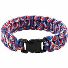 PARACORD BRACELET- RED WHITE & BLUE Cobra Weave 7 Strand Polyester Para Cord