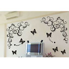 Butterfly Wall Sticker Removablel Decal,1 Set=1 Vine+3 Butterflies,50*60cm B006