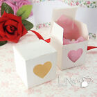 White Glossy Cake Gift Favour Box With Clear Heart Shaped Window Wedding Party