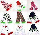 Cotton Baby Girl kids Christmas Style Pattern Winter Sock Leg Warmer wif Ruffles