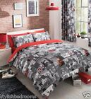 LONDON CITY  8 PEICE BUMPER DUVET SET inc CURTAINS & FITTED SHEET