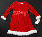 NWT girls 4T 5T Lilybird red velour Christmas holiday dress with faux fur trim!!