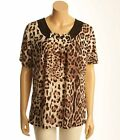 Victoria Leopard Top M/L Beaded Purple Black Animal Med Lg XL XXL Blouse Shirt