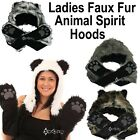 Ladies Teens Faux Fur Animal Spirit Hoods Hat Scarf Paws Mitten Pocket Gloves