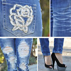 Blue Ripped skinny jeans with embellished pockets by Machine Jeans  DMP1A322JS