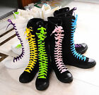Women Ladies PUNK Gothic Black White Canvas lace up boot knee high sneaker shoe