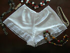 RETRO STYLE SATIN FRENCH KNICKERS BLACK WHITE OR RED MADE IN THE UK