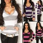 Jumper Ladies Hood Sweater Womens Top Hooded V Neck Striped Knitted size 8 10 12