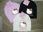 GIRLS HELLO KITTY PINK BLACK OR CREAM KNITTED  BEANIE STYLE HAT