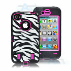 New BLACK ZEBRA HIGH IMPACT COMBO HARD RUBBER CASE Cover FOR IPHONE 4 4G 4S Case