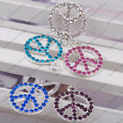 2x crystal rhinestone pave silver tone peace sign charm pendant bead sideways