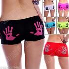 New Womens Novelty Hand Print Boxer Boy Trendy Shorts Underwear Pant Size S M XL