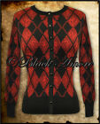 BLACK RED ARGYLE ROCKABILLY TATTOO CARDIGAN TARTAN GOTH PUNK SWEATER TOP PIN UP