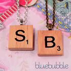 VINTAGE WOODEN SCRABBLE STYLE NECKLACE CUTE KITSCH INITIAL LETTER TILE CHARM EMO