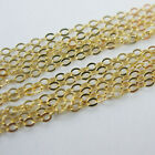 22K Gold Plated over Sterling Silver Vermeil 2mm Flat Cable Chain. Bulk By Foot