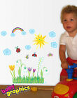 Flowers Snowdrops & Ladybugs removable wall stickers scene - babygraphics