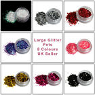 8g Large Round Glitter Pots 8 Different Colours For Nail & Body Art UK Seller
