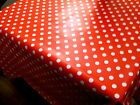 Red Polka Dot PVC Tablecloth ALL Sizes Wipe Clean Vinyl Oilcloth Top Quality