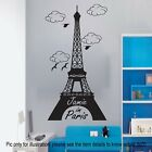 World famous Paris Eiffel Tower Wall Sticker Personalised Name Decal Vinyl Art