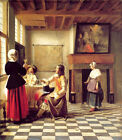 Art Print - Woman Drinking With Two Men And A Serving Woman - Hooch Pieter De 16