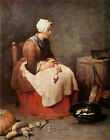Art Print - Young Woman Peeling Vegetables - Chardin Jean Baptiste Simeon 1699 1