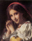 Art Photo Reprint - Piot Portrait Of A Girl With Red Shawl - Etienne Adolphe Pio