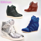 Women's Sporty High Top Velcro Lace Up Wedge Sneaker Shoes Black Beige Camel NEW