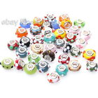 New Wholesale Colorful Cute Flowers Print Lampwork Beads Fit European Bracelets